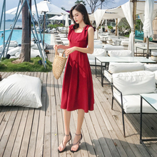Spring and summer new style French bow knot waist solid color A-line dress Medium and long temperament slim dress solid color sleeveless bow knot maxi dress