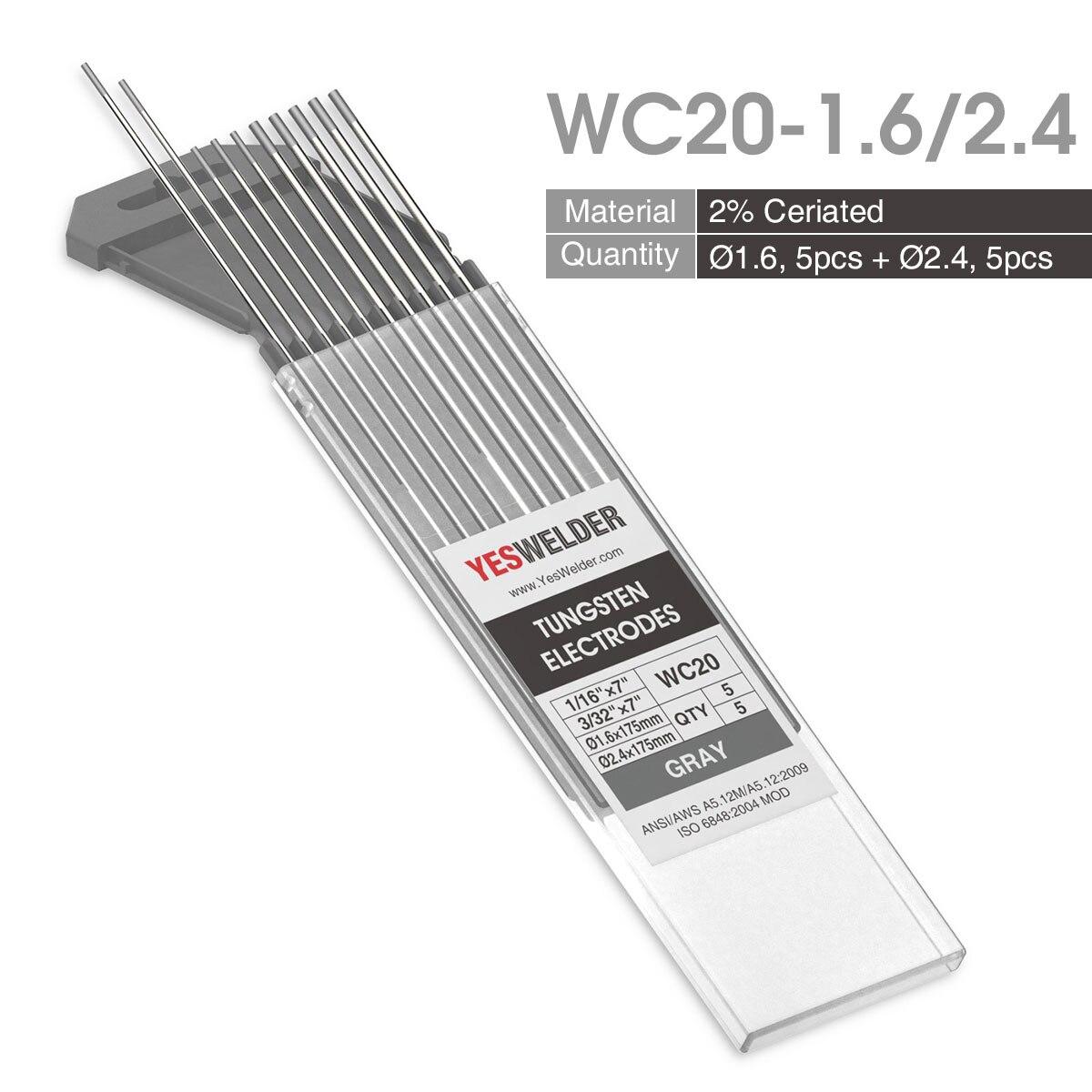 Yesseller 10-pk TIG сварочный вольфрамовый электрод WP/WT20/WC20/WL15/WL20/WX - Цвет: WC20-1.6-2.4