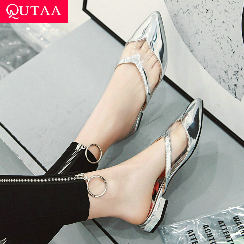 QUTAA 2019 Women Sandals Fashion Pointed Toe Pu Leather Platform Square Low Heel Women Pumps Ladies Sandals Size 34-43