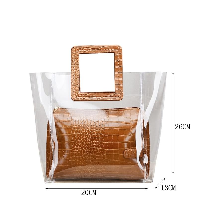 KYIDER Women Composite Bags Transparent Handbags Women 39 s Fashion Beach Bags Summer Shoulder Bags Casual Handbags in Shoulder Bags from Luggage amp Bags