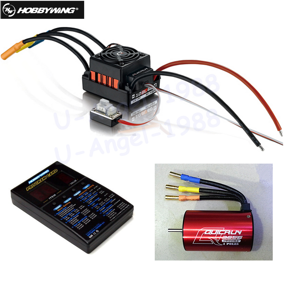 1set Original Hobbywing QuicRun WP-10BL60 Brushless Speed Controller 60A RC Car ESC + 3656 3800kv motor+ programe card 3650 3900kv 4p sensorless brushless motor 60a brushless elec speed controller esc w 5 8v 3a switch mode bec for 1 10 rc car