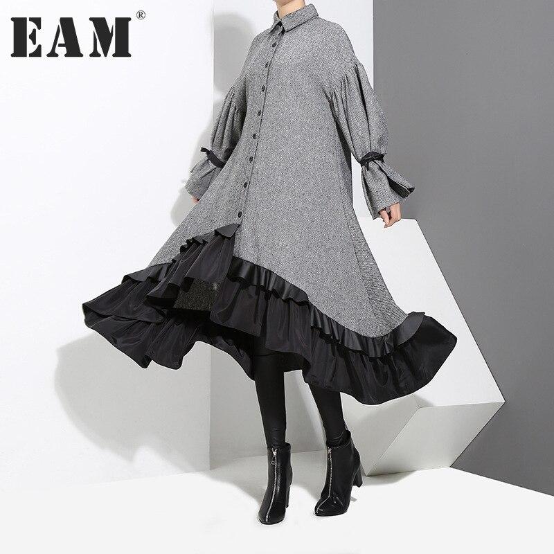 [EAM] 2018 Neue Frühling Revers Langarm Verband Einfarbig Grau Big Hem Unregelmäßige Lose Kleid Frauen Mode flut JD717