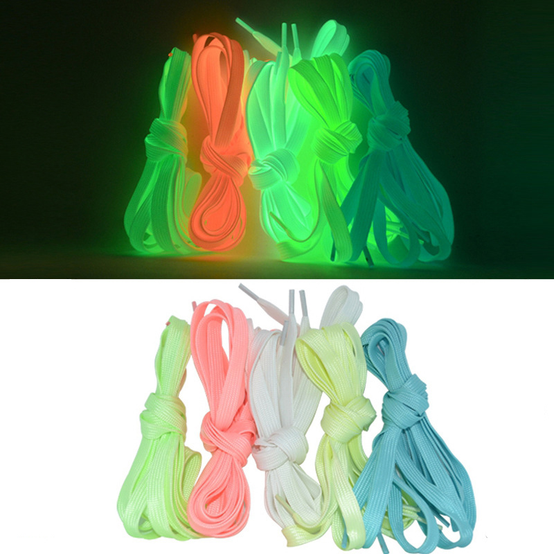 1 Pair 1 2m Luminous Shoelace Flat Coloured Shoe Laces Glow in The Dark Fluorescent Athletic