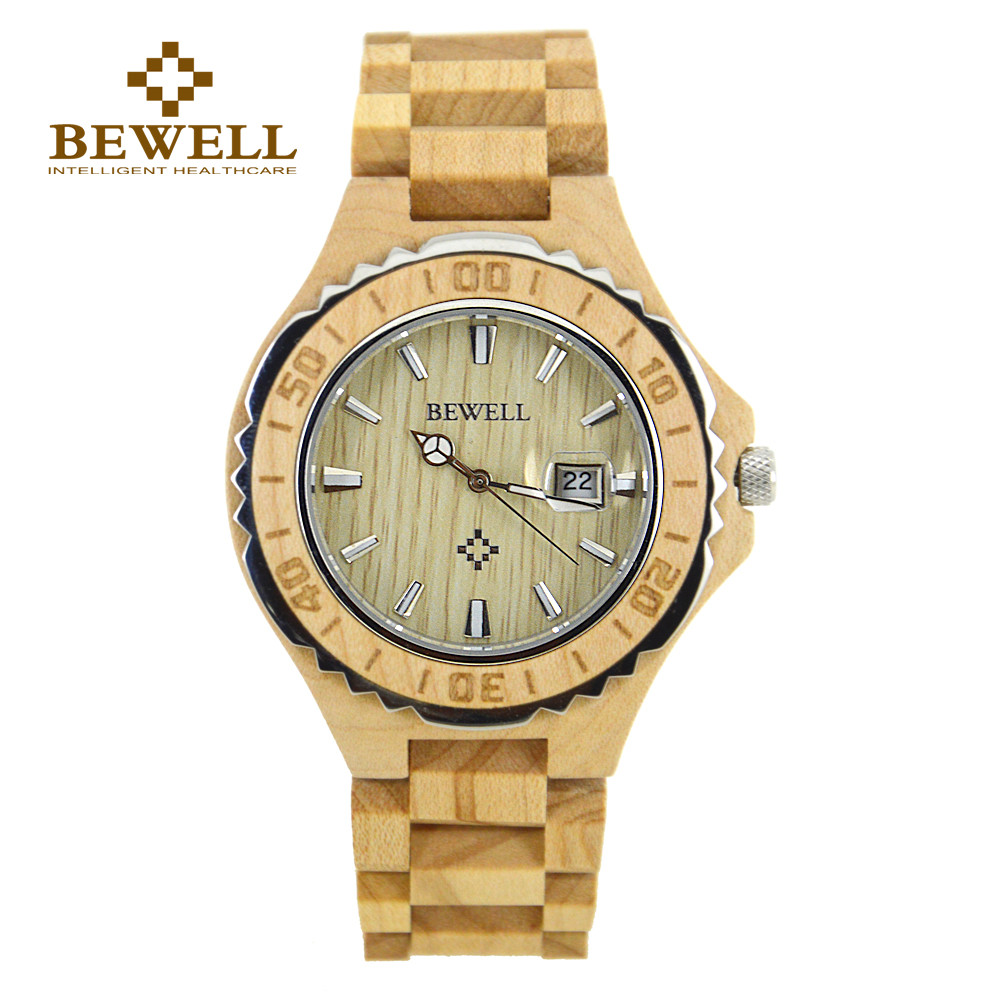 BEWELL top luxury brand Natural wood Creative wrist watch saat for man male Quartz Movement wooden strap dropship supplier 100BG men wooden watch for male quartz wristwatches sandalwood strap calendar clock luxury brand wood watch with gift box friend 100bg