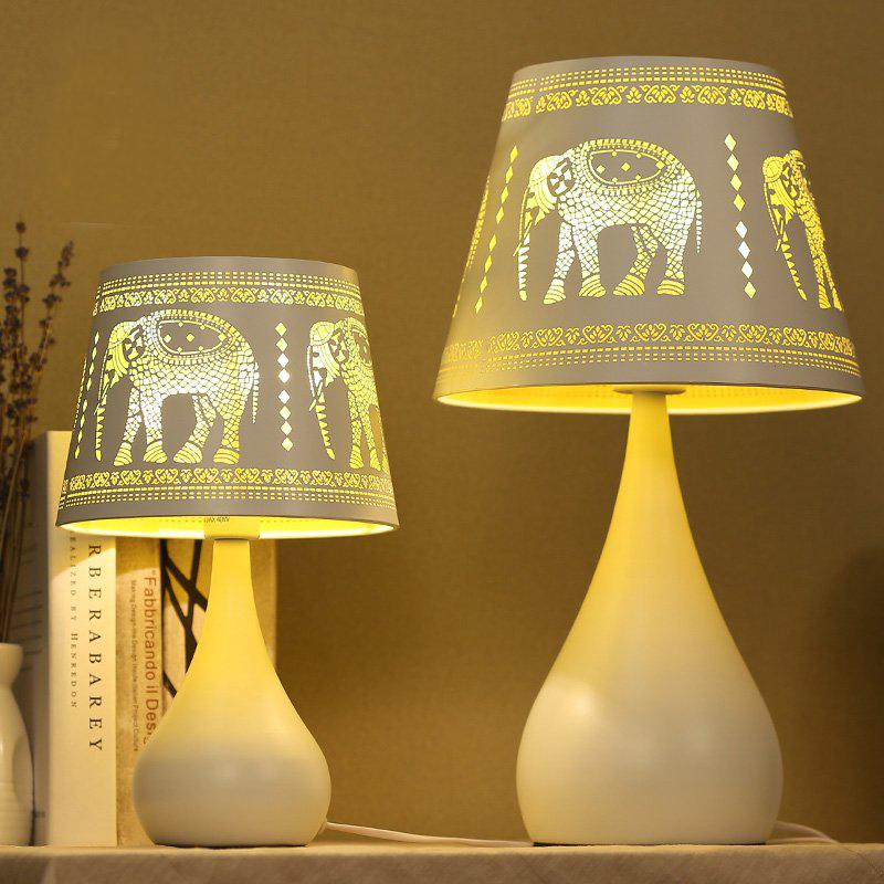 Engraving Elephant Table Lamp with Cutout Modern Lampshade Living Room Bedroom AC110-220V desk light decorative table lamp vintage wood plastic rustic style brief modern lampshade living room bedroom 110 220v desk light 1936