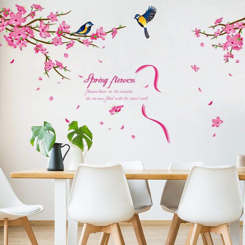 Shijuehezi Peach Blossom Baum Ast Wand Aufkleber Diy