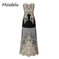 Mosdelu Retro Lace Up Sequined Party Dress Women Elegant Vintage Gatsby Maxi Dresses Christmas Strapless Bodycon