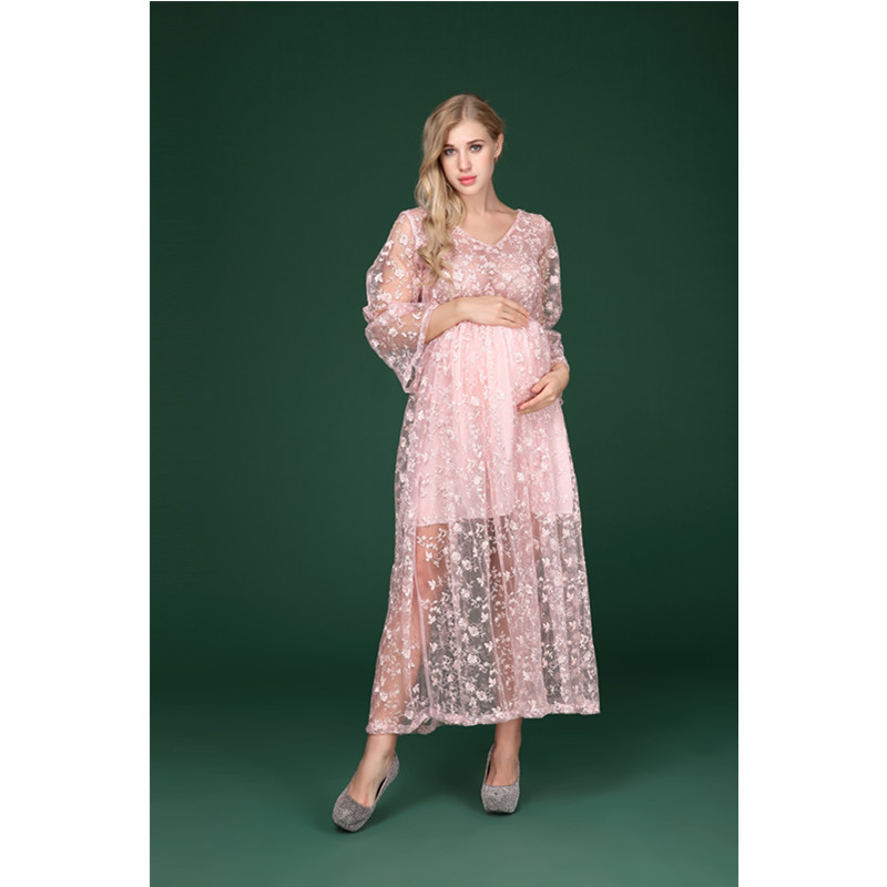 1acf6e81ebf44 ... Lace Floral Embroidery V Neck Dress Pink Maternity Clothes For. sku:  32846829247