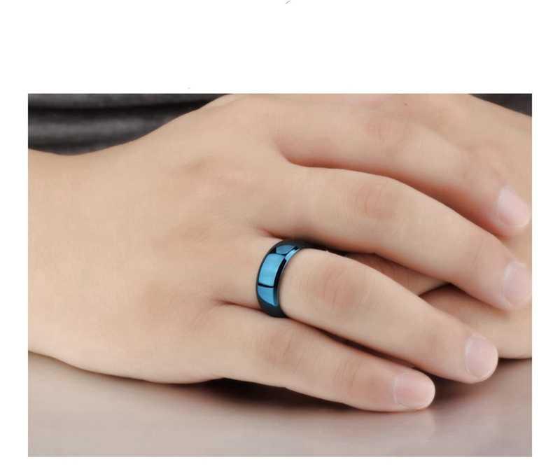 LASPERAL Simple letras anillos azules moda Acero inoxidable liso anillo de amantes hombres mujeres joyería 2018 nuevo regalo del Día de San Valentín