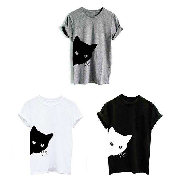 Women's Cat Printed Casual Style T-Shirt