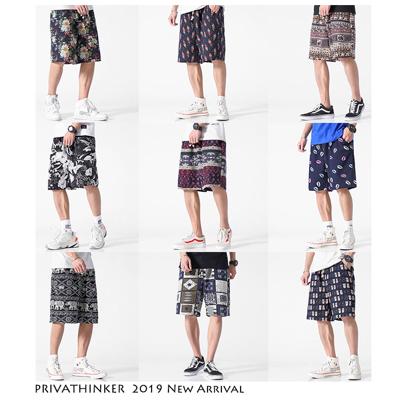 Privathinker Mens Corlorful   Shorts   Cotton 2019 Summer Man Vintage Joggers   Shorts   Male Streetwear Hip Hop Casual   Shorts   Plus Size