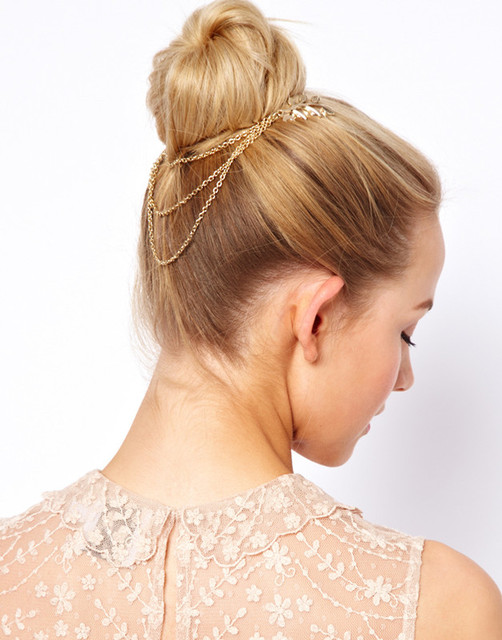 Gold Color Leaf Hair Cuff with Chain