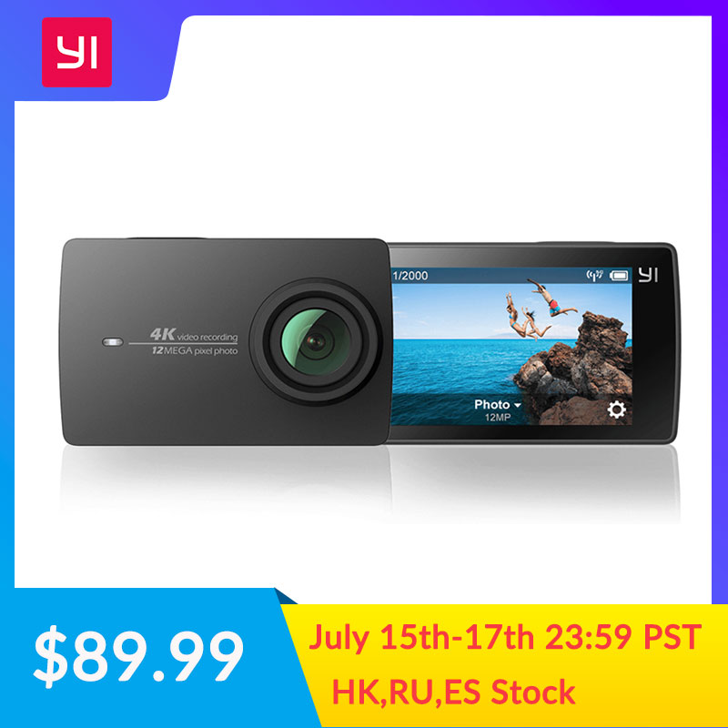 YI 4K Action and Sports Camera 4K/30fps Video 12MP Raw Image with EIS Voice Control Ambarella A9SE Chip 2.19 inch Touch Screen كاتم العقيلات