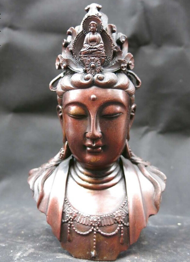 $old craft$ 8 Chinese red copper beautifully Kwan-yin Bodhisattva buddha caput statue (A0314)$old craft$ 8 Chinese red copper beautifully Kwan-yin Bodhisattva buddha caput statue (A0314)