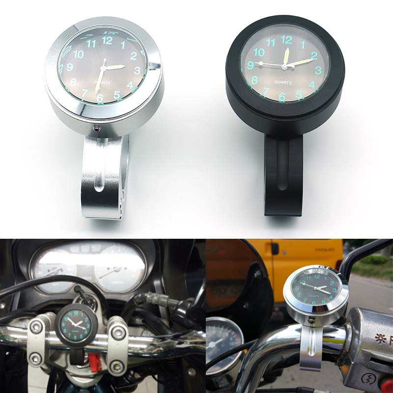 Universal Motorcycle Watch Handlebar Black Dial Clock Watch For Harley Cruiser Chopper Honda Yamaha  7/8