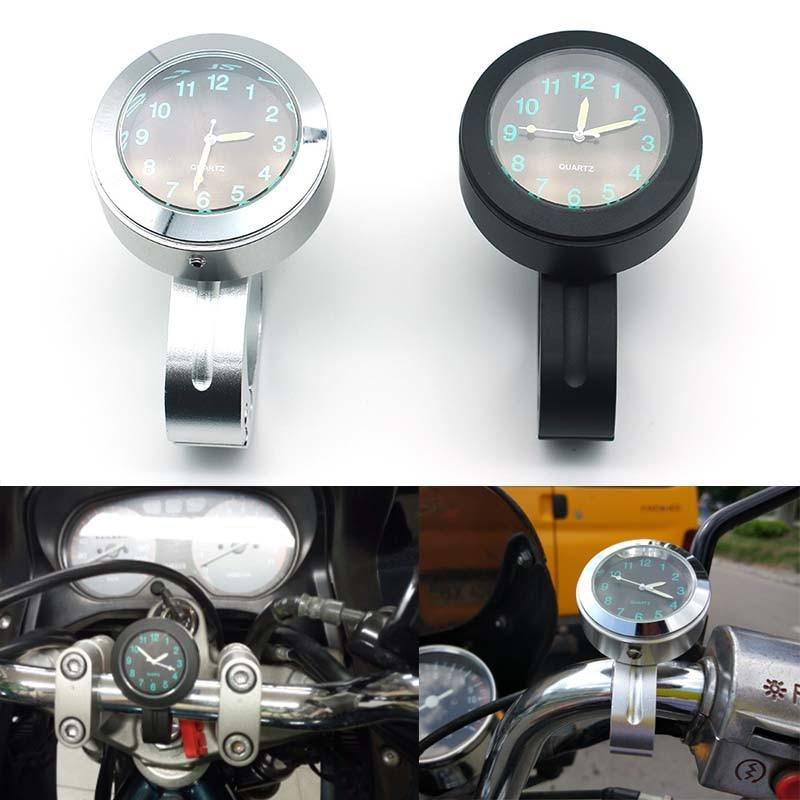 Universale Del Motociclo Orologio Manubrio Quadrante Nero Orologio Orologio Per Harley Chopper Cruiser Honda Yamaha 7/8