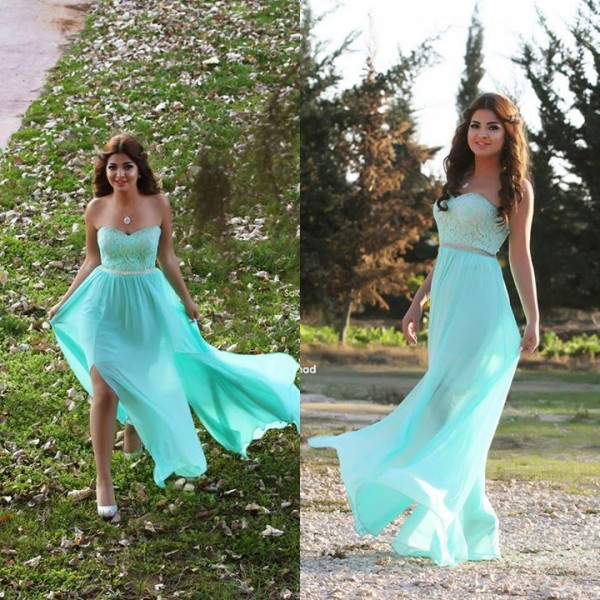 Hot Sale New Charming Floor Length Mint Green Chiffon Split Side Beach Backless A Line Party   Prom     Dresses   Vestidos