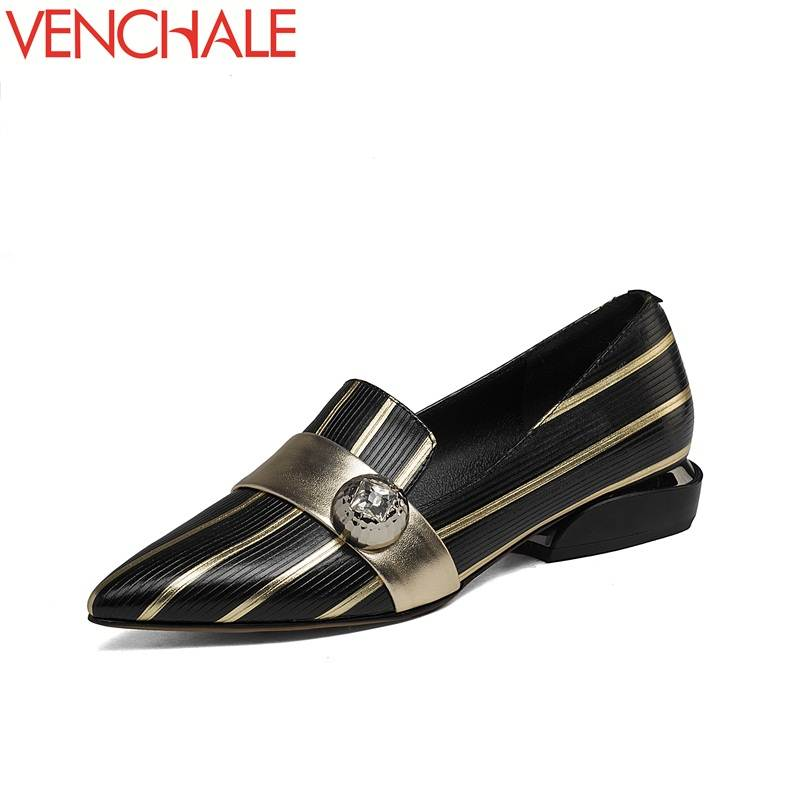 VENCHALE women pumps office lady with suit fashion pointed toe low heel comfortable queen style adding to the gas field shoes adding value to grains