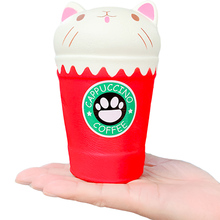 цена на Jumbo Squishy Cute Cat Cup Slow Rising Simulation Cream Scented Novelty Soft Squeeze Toy Stress Relief for Kid Xmas Gift Toy