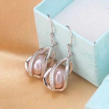 Natural Freshwater Pearl Drop Earrings For Women Elegant 925 Sterling Silver Anti allergy Earrings DIY Cage Jewelry 2019 cauuev 3
