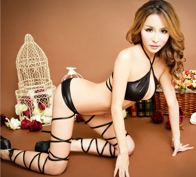 2015 new sexy black bandage legs lingerie sets three point type