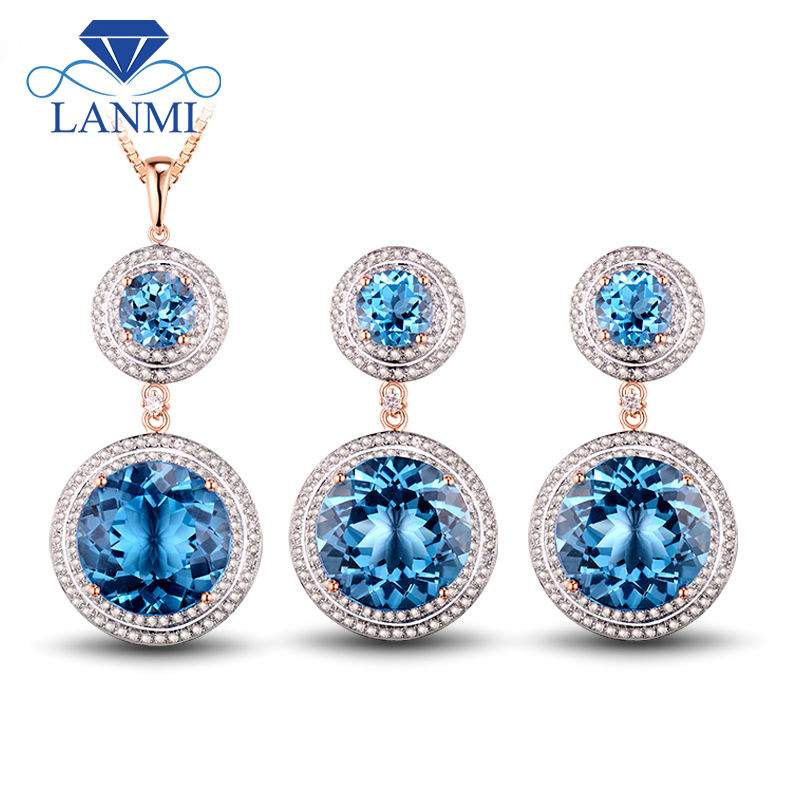 Fine Jewelry: Fantastic Blue Topaz Ring Earrings Pendant In Solid 14Kt Rose Gold Beauty Wedding Sets pipedream spider gag расширитель для рта
