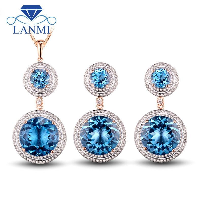 Fine Jewelry: Fantastic Blue Topaz Ring Earrings Pendant In Solid 14Kt Rose Gold Beauty Wedding Sets marulong s0002 women s fashionable flower pattern short sleeved nightdress green multi color