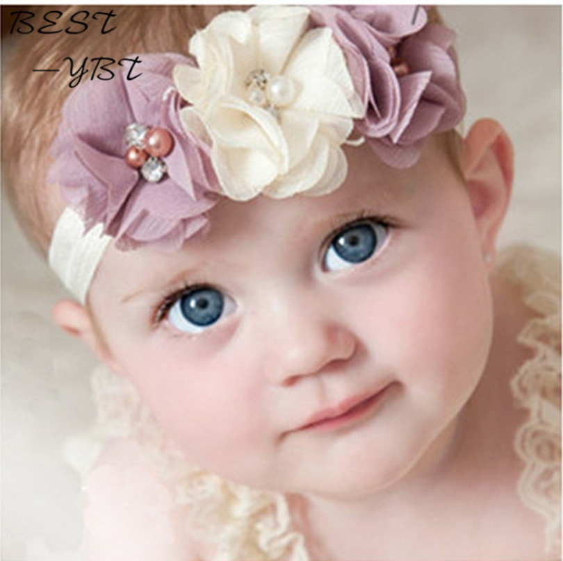 24Clrs New Fashion Hot children kids Baby girls pearl diamond 3 flowers Headband Headwear Hair Band Head Piece Accessories han edition of the new hair headwear pearl diamond hair hoop winding head band