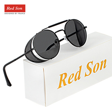 Red Son Retro Metal Steampunk Sunglasses Men Women Round Pu