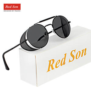 Red Son Retro Metal Steampunk Sunglasses Men Women Round Punk Classic Sun Glasses 2019 Unique Design Vintage Polarized Goggles