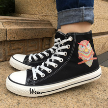 Wen 2017 New Arrival Canvas Shoes Ornamental Owl Ethnic Style Men Women's High Top Black Sneakers for Christmas Birthday Gifts