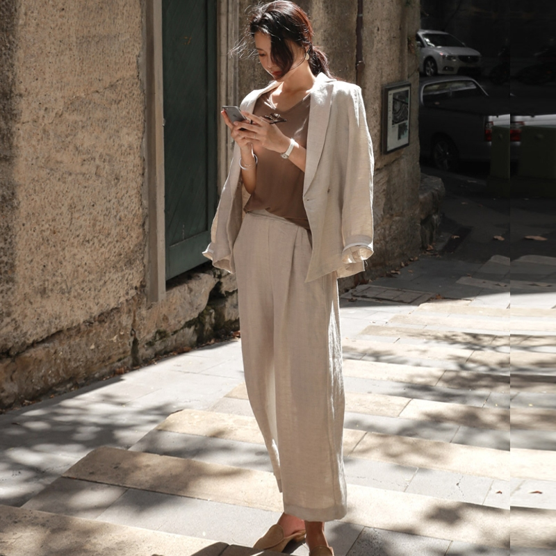 Cotton And Linen Suit Female Summer New Fashion Loose Casual Slimming Cotton Small Suit Jacket And Wide Leg Pants Suit Women