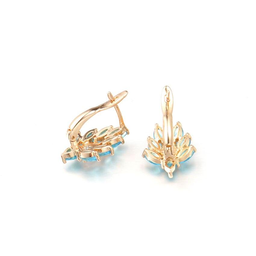 c8efd23da HANRESHE Blue Stone Leaf Shaped Stud Earrings For Women 585 Rose ...