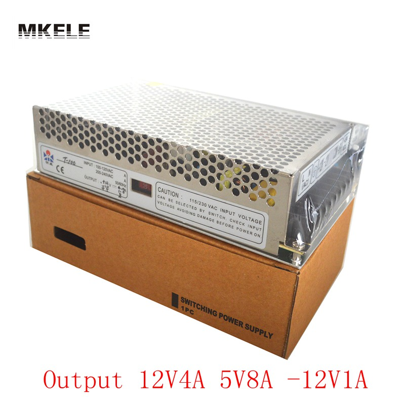Factory Direct Triple Output Voltage 12v 5v -12v  100W swithing power supply High quality 2 years warranty T-100i supply 4f 5f 6f 7f high voltage three core cable clip factory outlets