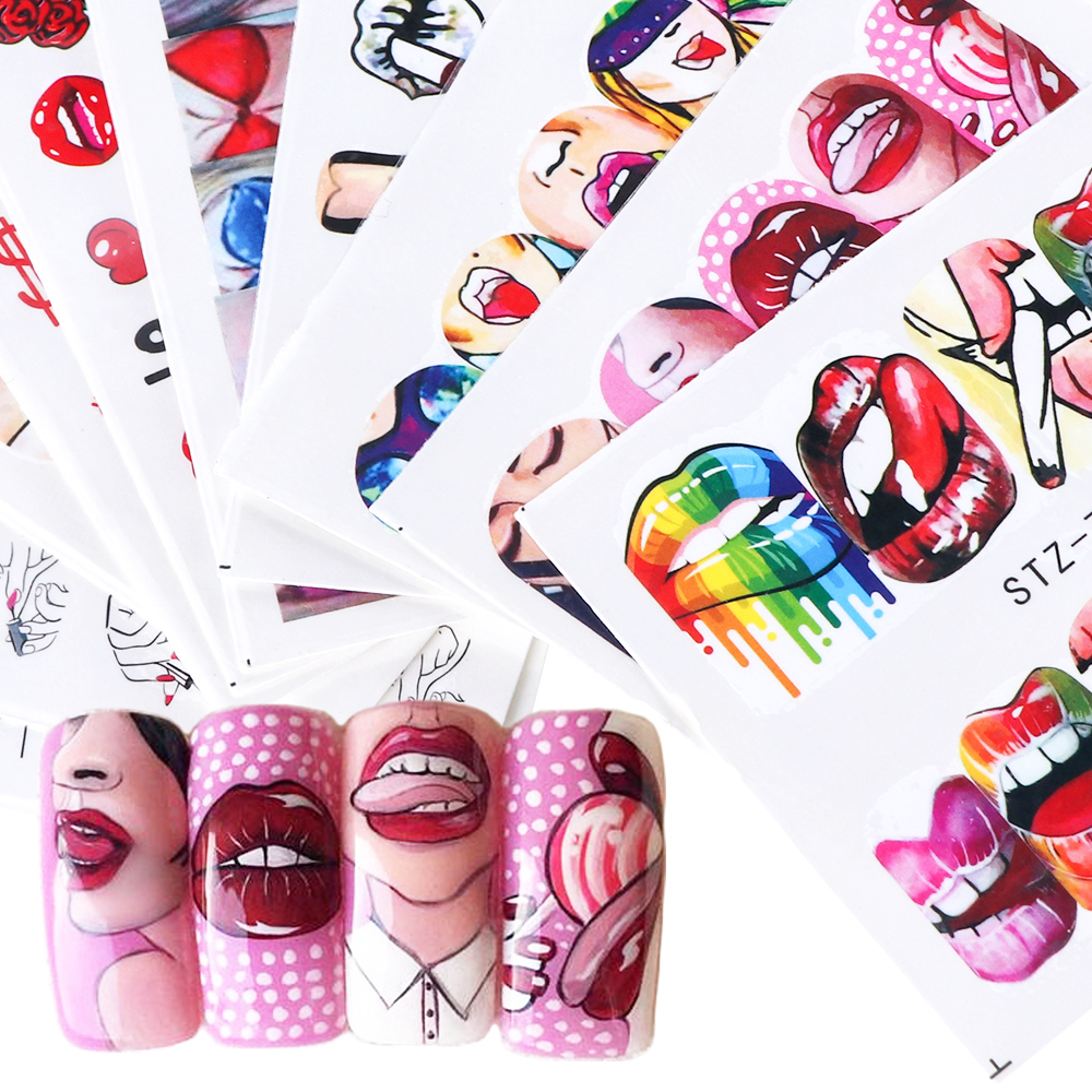Image 2 - 9pcs Sexy Girl Lips Slider Water Decals Nail Sticker Water Transfer Tattoo Wraps Adhesive Tip Manicure Decoration JISTZ756 765-in Stickers & Decals from Beauty & Health