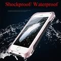 """Choque Sujeira À Prova D' Água-apenas R Metal de Alumínio de luxo caso de telefone de Silicone Para iphone 5 5S SE 6 6 s 4.7 """"além de 5.5"""" + vidro temperado"""