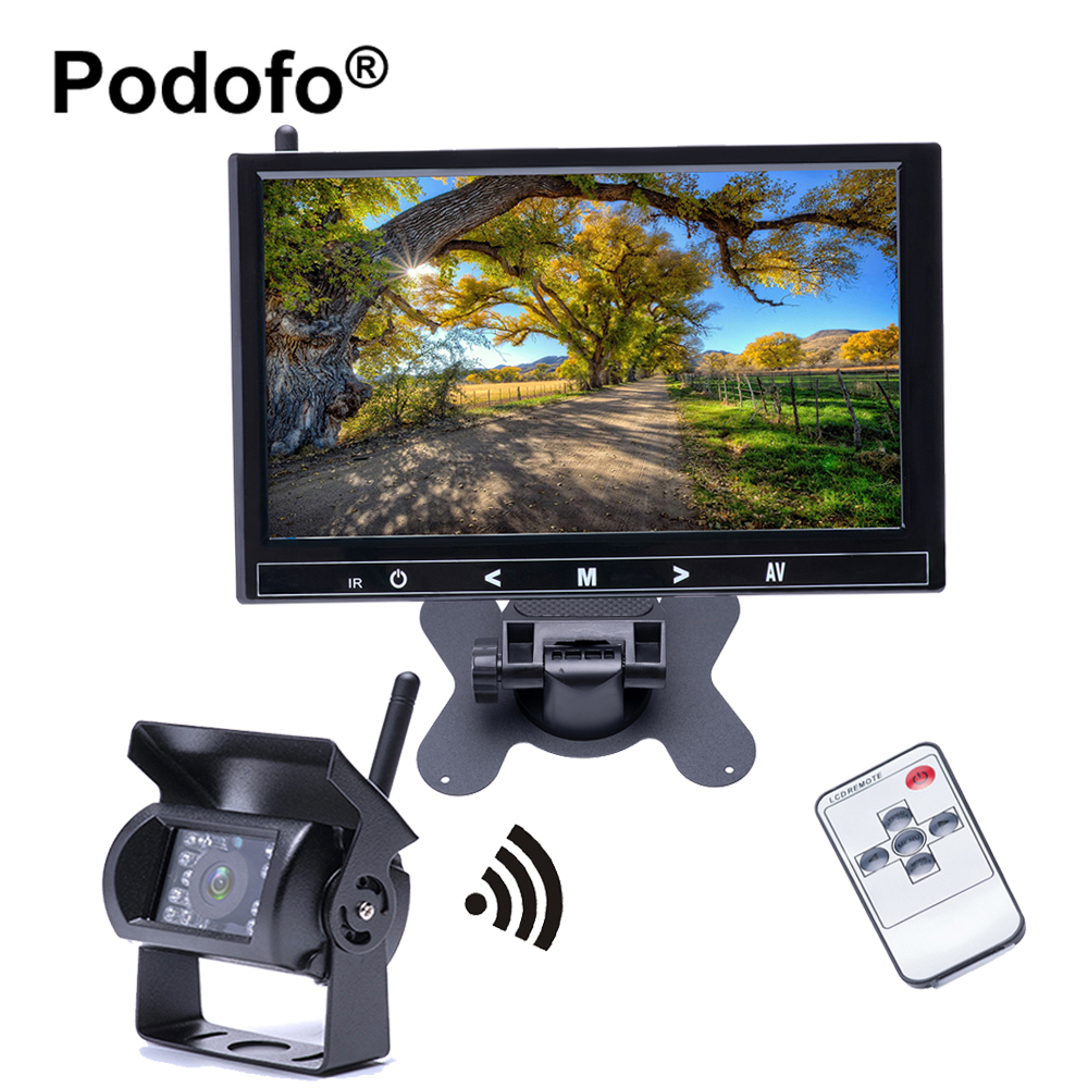 Podofo 9 Inch HD Full Car Monitor 2370 Ghz Wireless Backup Rearview Camera 18 IR Night Vision Waterproof for Trailer /Truck / RV wireless dual backup cameras parking assistance night vision waterproof rear view camera 7 monitor for rv truck trailer bus