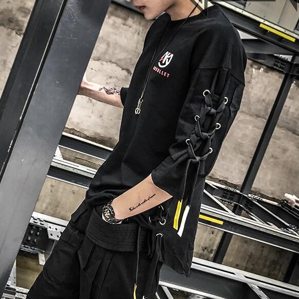 Five-point sleeves half-sleeved T-shirt male hair stylist personality decorative tide loose sleeves bottoming shirt men's cloth 1