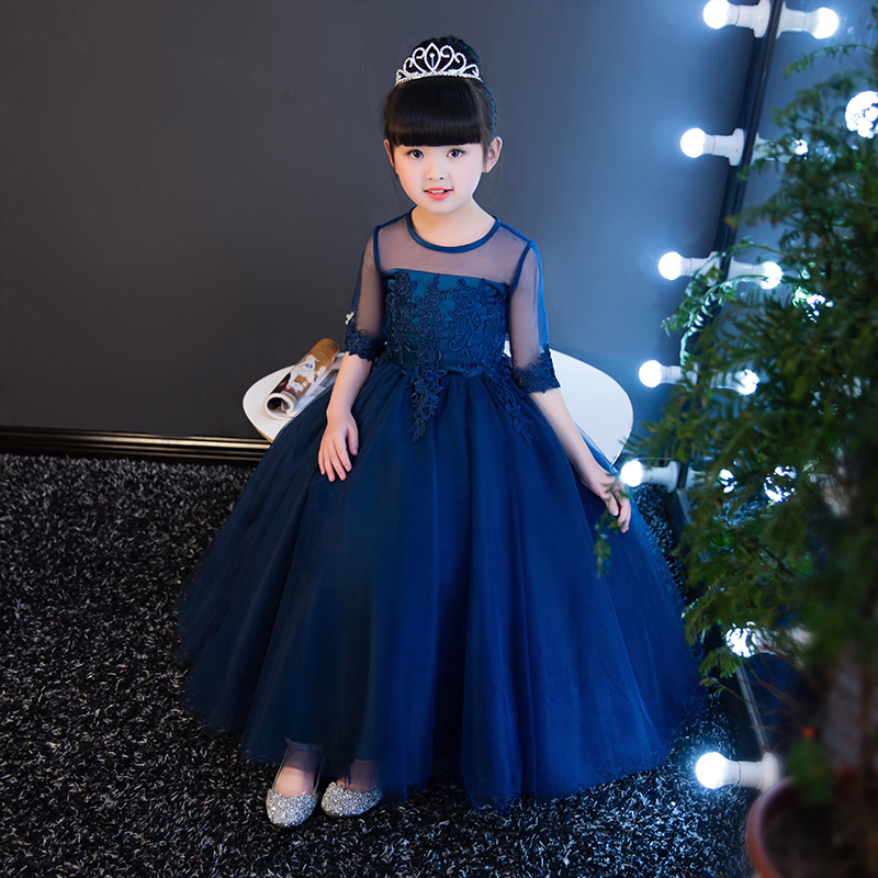 Appliques Summer Girl's Dress Ball Gown Blue Princess Dresses O-neck Lace Flower Girl Dress For Party Kids Pageant Gowns AA15 teenage girl party dress children 2016 summer flower lace princess dress junior girls celebration prom gown dresses kids clothes