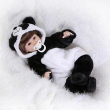 Nicery 18inch 45cm Reborn Baby Doll Magnetic Mouth Soft Silicone Lifelike Girl Toy Gift for Children Christmas Black White Panda