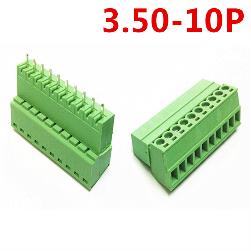 10sets 10 Pin PCB Electrical Straight Plug-in type 15EDG-3.5mm Pitch Screw Green Terminals Block Connector pin header and socket