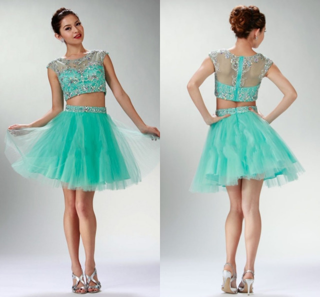 Real Simpe Mint Green Beaded Tull Short Prom Dresses Sheer Back ...