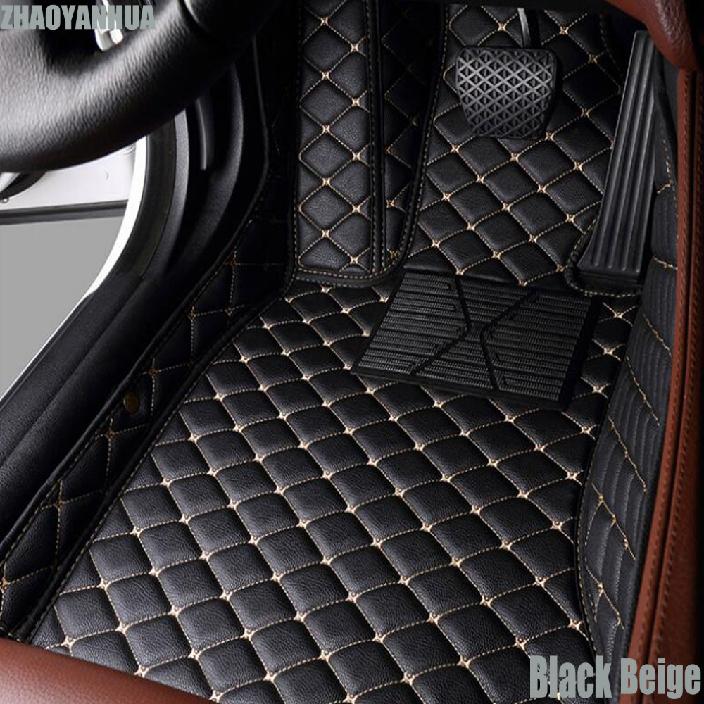 ZHAOYANHUA car floor mats for Audi A1 A3 A4 A6 A7 Q3 Q5 Q7 TT leather Anti-slip car-styling carpet liner custom make waterproof leather special car floor mats for audi q7 suv 3d heavy duty car styling carpet floor rugs liners 2006