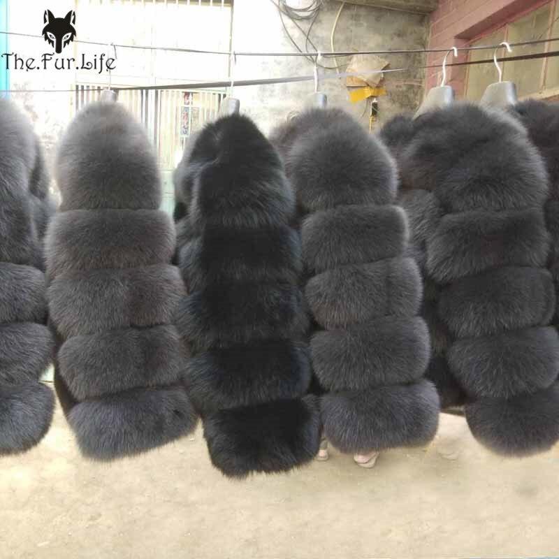 2019 Nouvelles Femmes Chaud Réel Fourrure De Renard Manteau Court Hiver De Fourrure veste d'extérieur Naturel Bleu Renard manteaux de fourrure pour les Femmes Promotion Chaude