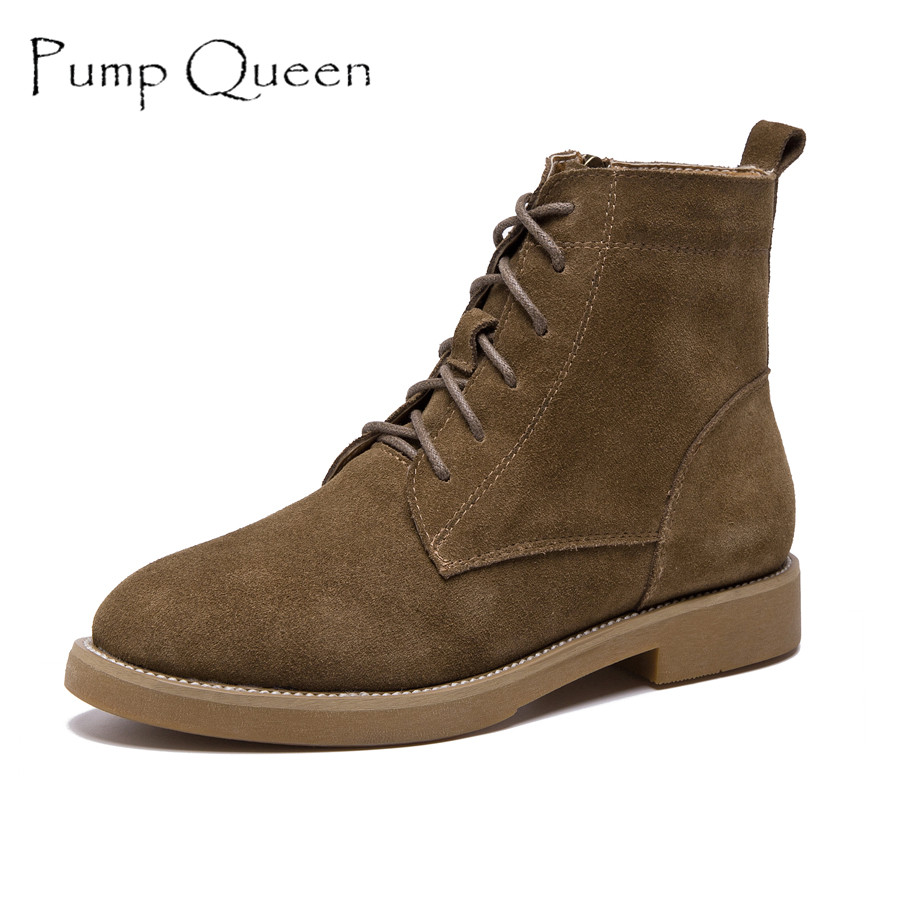 Women Autumn Boots Motorcycle Ankle Boot Scrub Genuine Leather Shoes Fashion Matte Flat Lace-up Boots zapatos mujer elastic band women genuine leather ankle boots chelsea hand made shoes motorcycle coincise fashion black matte women s boots