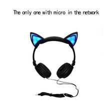 Складная Мигает Светящиеся кошки ухо наушники свет наушники микрофон Игры кот наушников Наушники для Iphone PC Samsung
