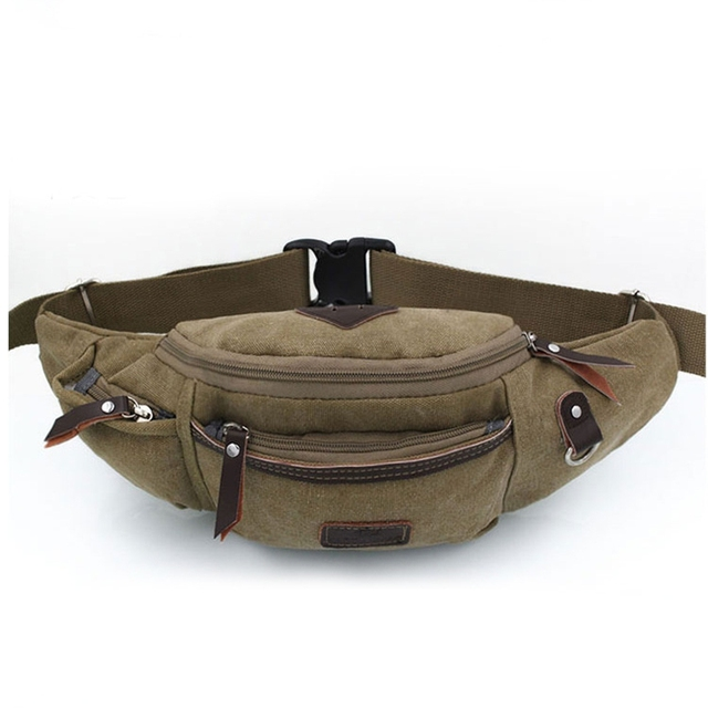Vintage Canvas Small Men Fanny Waist Pack Bag Pockets Male Crossbody Shoulder Bags Retro Men and Women Chest Pack Packet Package