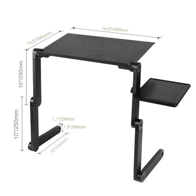 Portable Adjustable Aluminum Laptop Desk Ergonomic TV Bed Laptop Tray PC Table Stand Notebook Table Desk Stand With Mouse Pad 4