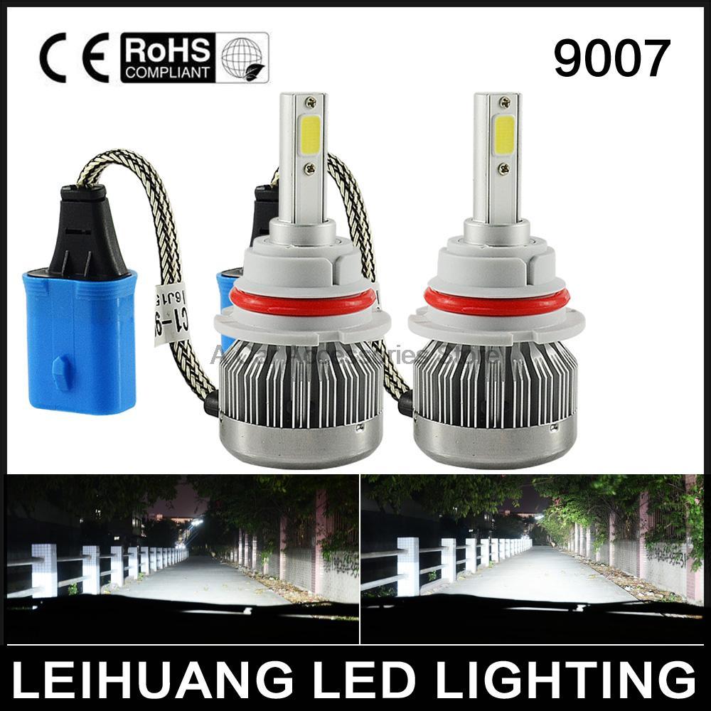 Pair 9007 60W 6000LM LED Headlight Kit High/Low Beam Bulbs 6000K White 3000K Yellow Cheap headlamp