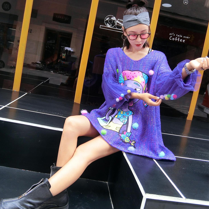 Européenne Pourpre Coréenne Dames V Nouvelle Chandail Capot Col Pull Marque Mode 2018 Femelle Américaine Lâche Automne Et Violet Marée tRxgq8Uw